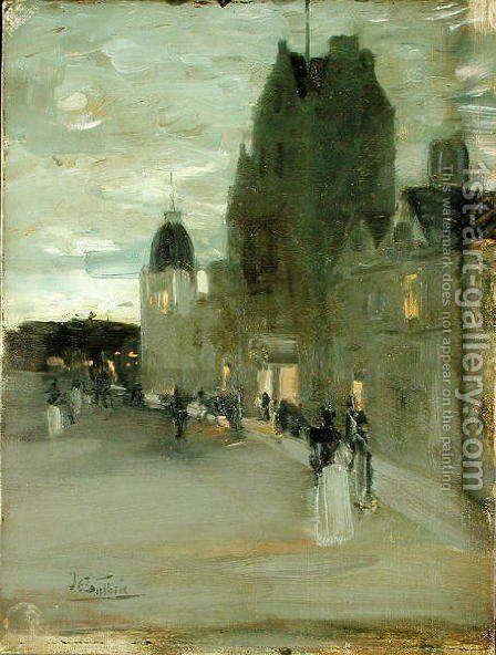 Street in Oban Night by Sir James Guthrie - Reproduction Oil Painting