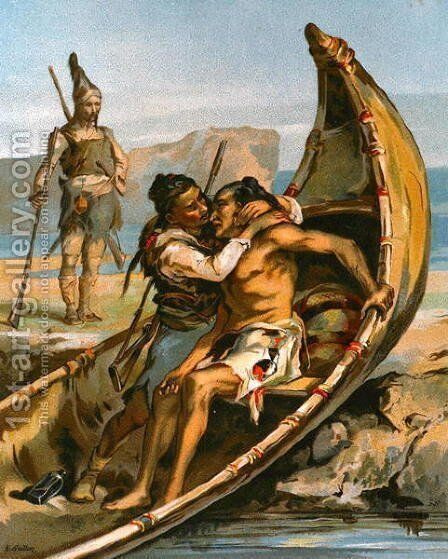 Robinson Crusoe and Man Friday Nursing a Native by E. Guillon - Reproduction Oil Painting
