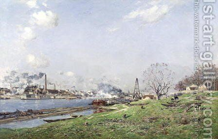 The Seine at Conflans Charenton by Jean Baptiste Antoine Guillemet - Reproduction Oil Painting