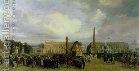 The Ceremony for the Return of Napoleons Ashes in 1840 by Jacques Guiaud - Reproduction Oil Painting