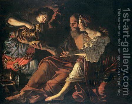 Lot and his Daughters by Giovanni Francesco Guerrieri - Reproduction Oil Painting