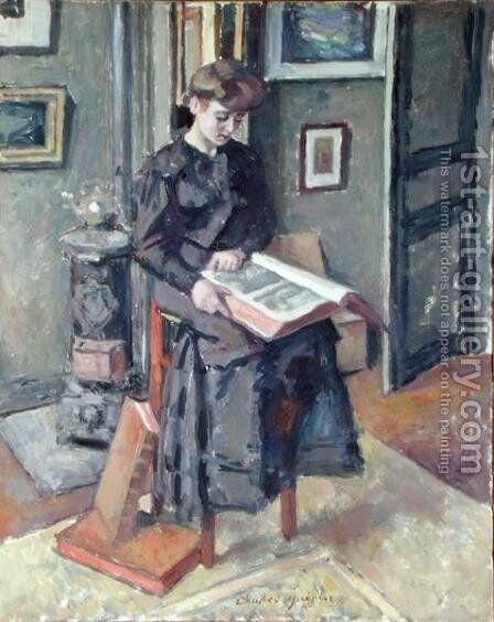 Girl Reading a Book by Charles Francois Prosper Guerin - Reproduction Oil Painting