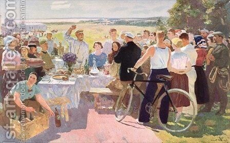 Harvest Celebration at a Collective Farm by after Guerassimov, Serguei - Reproduction Oil Painting