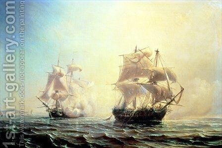 Combat between the frigate LEmbuscade and the Boston in the Port of New York in 1793 by Theodore Gudin - Reproduction Oil Painting