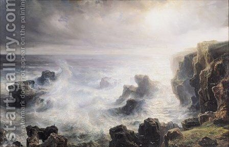 Storm off the Coast of Belle Ile by Theodore Gudin - Reproduction Oil Painting