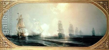 Naval Battle in Chesapeake Bay by Theodore Gudin - Reproduction Oil Painting