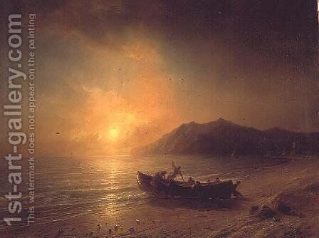 A Coastal Landscape with Arab Fishermen Launching a boat at Sunset by Theodore Gudin - Reproduction Oil Painting