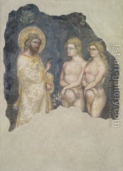 Adam and Eve Blessed by God by Ridolfo di Arpo Guariento - Reproduction Oil Painting