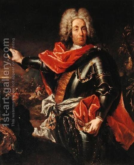 Portrait of Marshal Mattia von Schulemburg by Giovanni Antonio Guardi - Reproduction Oil Painting
