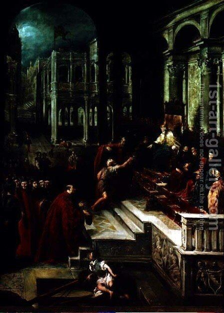 Fisherman giving the Ring to the Doge of Venice by Giovanni Antonio Guardi - Reproduction Oil Painting