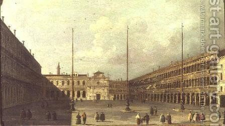 The Piazza San Marco Venice with figures by (after) Guardi, Francesco - Reproduction Oil Painting