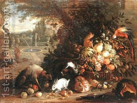 Still Life in a Garden by Adriaen de Gryef - Reproduction Oil Painting