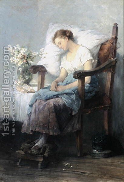 Asleep by Agnes Grunenwald - Reproduction Oil Painting