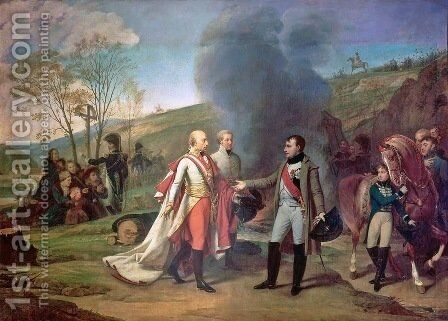 Meeting between Napoleon I 1769-1821 and Francis I 1768-1835 after the Battle of Austerlitz by Antoine-Jean Gros - Reproduction Oil Painting