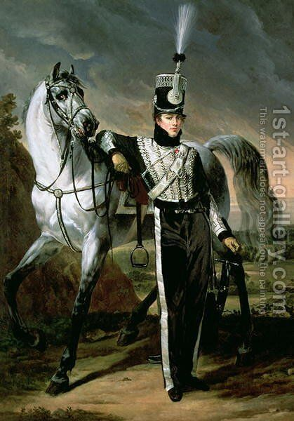 Portrait of Louis Eugene dEtchegoyen a Cavalry Officer by Antoine-Jean Gros - Reproduction Oil Painting