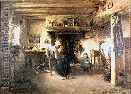 Interior of a peasant cottage by T. Grondard - Reproduction Oil Painting