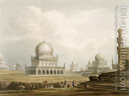 Tombs of the Kings of Golconda in 1813 by (after) Grindlay, Captain Robert M. - Reproduction Oil Painting