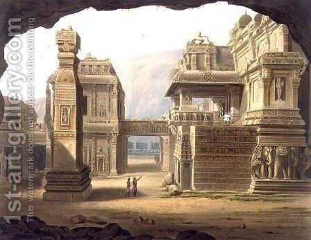 Great Excavated Temple at Ellora in 1813 by (after) Grindlay, Captain Robert M. - Reproduction Oil Painting
