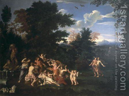 Landscape with Homage to Venus by Giovanni Francesco Grimaldi - Reproduction Oil Painting