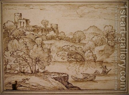 Classical landscape with boats on a lake below a castle by Giovanni Francesco Grimaldi - Reproduction Oil Painting