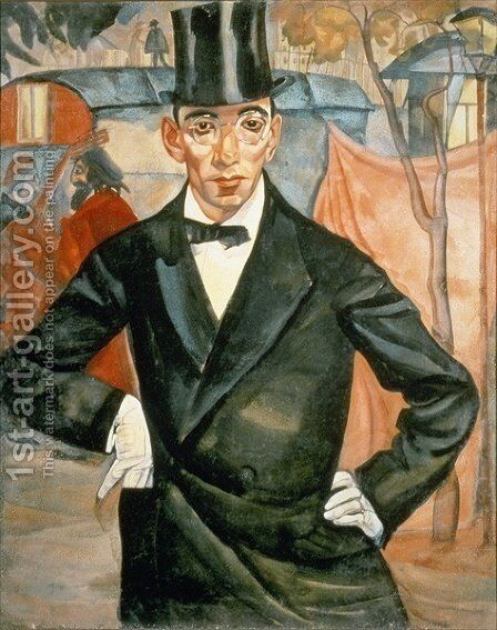 Portrait of Sherling from the cycle of portraits called The face of Russia by Boris Dmitrievich Grigoriev - Reproduction Oil Painting
