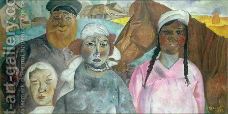 The Peasant Family 2 by Boris Dmitrievich Grigoriev - Reproduction Oil Painting