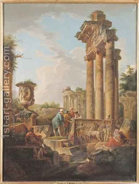 Ruins of a Temple by Giovanni Maria Griffoni - Reproduction Oil Painting