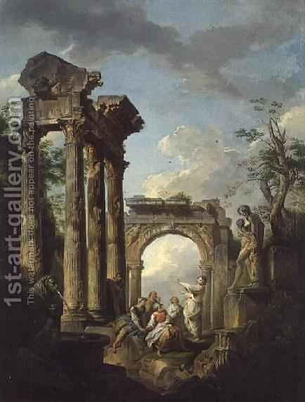 The Ruins of the Temple of Vespasian by Giovanni Maria Griffoni - Reproduction Oil Painting