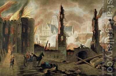 The Great Fire of London in the Year of 1666 by (after) Griffier, Jan the Elder - Reproduction Oil Painting