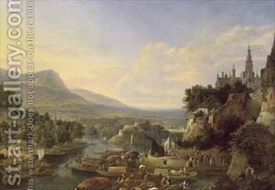 Loading Barges on the Rhine by Jan the Elder Griffier - Reproduction Oil Painting