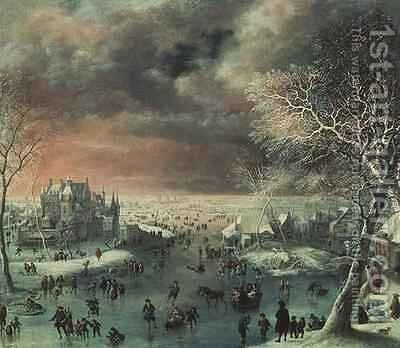 A winter landscape with figures on the ice by Jan the Elder Griffier - Reproduction Oil Painting