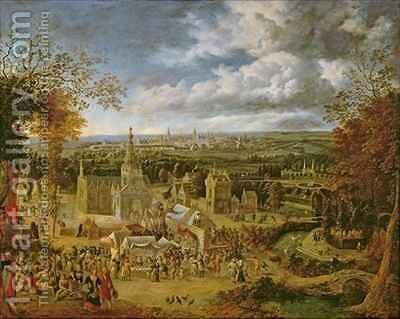 A Fete and View of a City by Jan Griffier - Reproduction Oil Painting