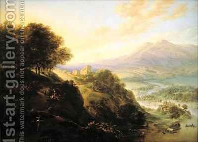 Mountainous river landscape with peasants resting by a path by Jan Griffier - Reproduction Oil Painting