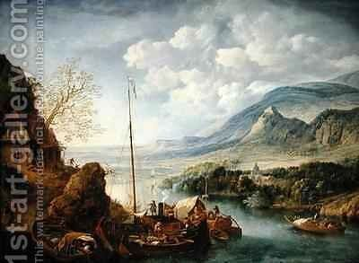 A Rhenish River Landscape with Boats in the Foreground by Jan Griffier - Reproduction Oil Painting