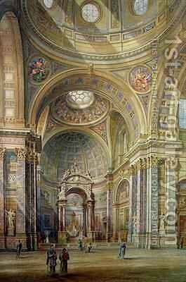 Interior view of Brompton Oratory by Herbert A. Gribble - Reproduction Oil Painting