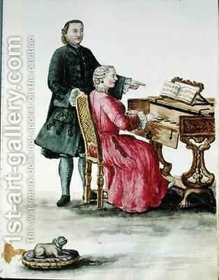 A Singer at the Clavichord with her Teacher by Jan van Grevenbroeck - Reproduction Oil Painting