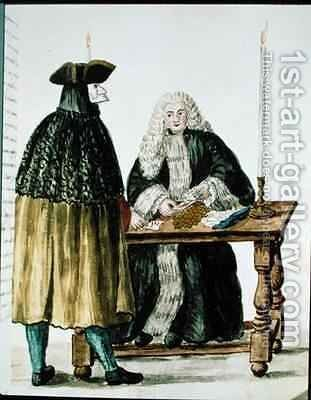 A Magistrate Playing Cards with a Masked Man by Jan van Grevenbroeck - Reproduction Oil Painting