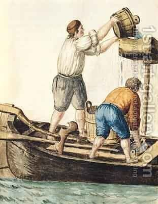 Boatmen Pouring Fresh Water into the Pipelines by Jan van Grevenbroeck - Reproduction Oil Painting