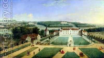 Chateau of Charles Guillaume Le Normant Seigneur dEtoilles by Charles Laurent Grevenbroeck - Reproduction Oil Painting