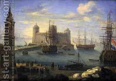 A Mediterranean port with men o war by Charles Laurent Grevenbroeck - Reproduction Oil Painting