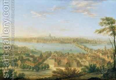 View of Old London Bridge by Charles Laurent Grevenbroeck - Reproduction Oil Painting
