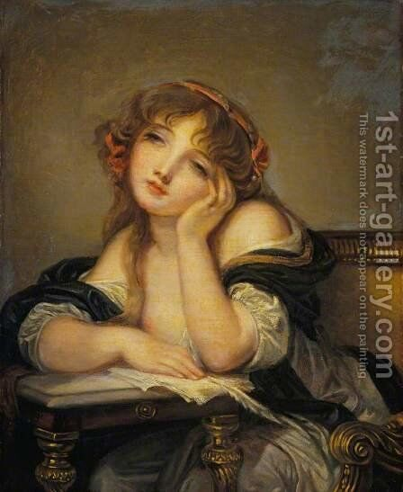 The Letter Writer by (after) Greuze, Jean Baptiste - Reproduction Oil Painting