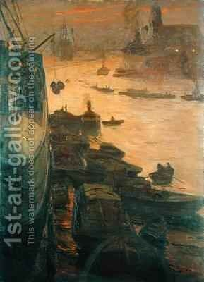 Hamburg Harbour by the Emperors Quay by Carlos Grethe - Reproduction Oil Painting