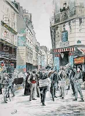 View of the Rue de Croissant in the 11th arrondissement of Paris by (after) Grenier, Ernest - Reproduction Oil Painting