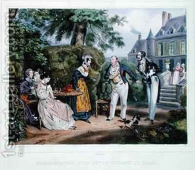 Introduction of a Parisian suitor by (after) Grenier, Ernest - Reproduction Oil Painting