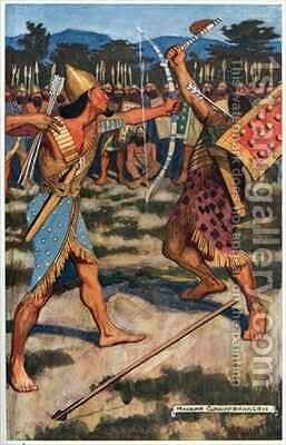 Senuhet Slays the Warrior of Tonu by Maurice William Greiffenhagen - Reproduction Oil Painting