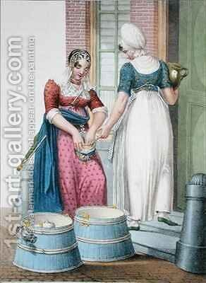 An Amsterdam servant and a local milkmaid by (after) Greeven, H. - Reproduction Oil Painting
