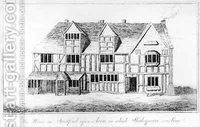 The House in Stratford upon Avon in which Shakespeare was Born by (after) Greene, R. - Reproduction Oil Painting