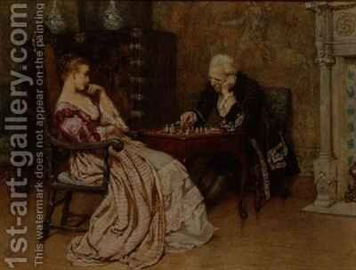 A Game of Chess by Charles Green - Reproduction Oil Painting