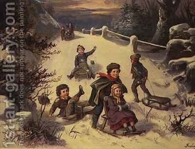 Sledging and Snowballing by Greben - Reproduction Oil Painting